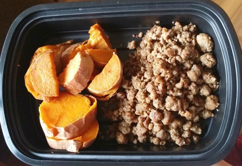 Beyond Meat Beefy Ground Crumbles and Steamed Yams