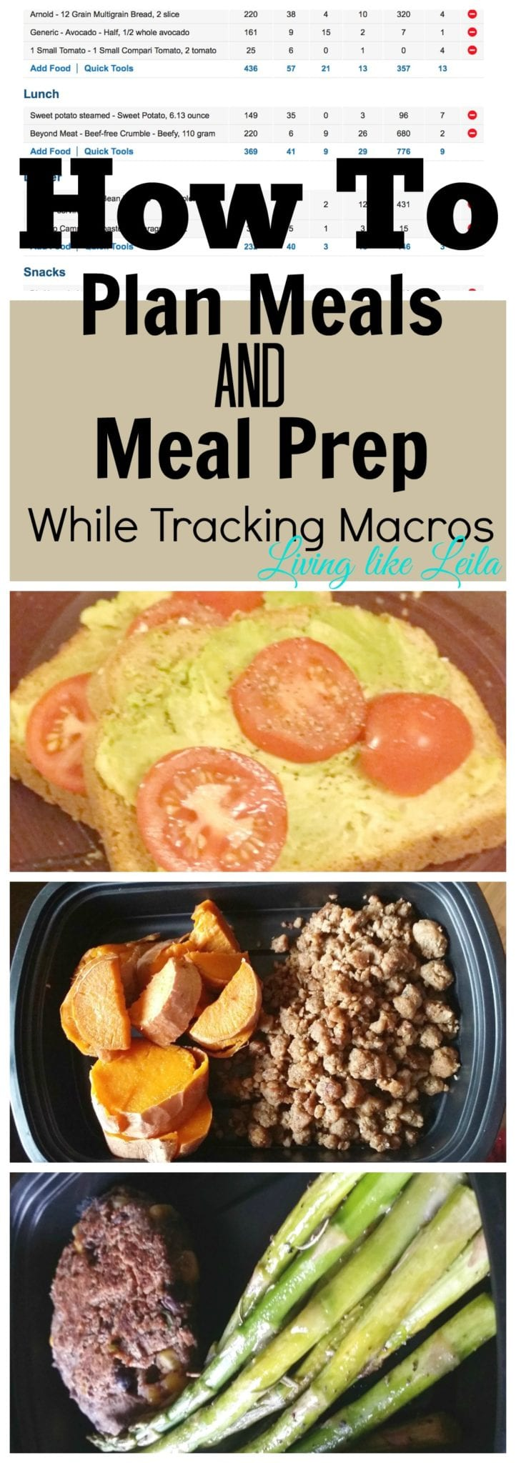 If you want to track your macros but are having trouble, try meal prepping! You can plan a full day of meals to reach your macro goals, dedicate a couple of hours to cooking, then stay on track and size time throughout the week! Discover how I use MyFitnessPal to make meal planning and prepping a breeze! -www.LivinglikeLeila.com-