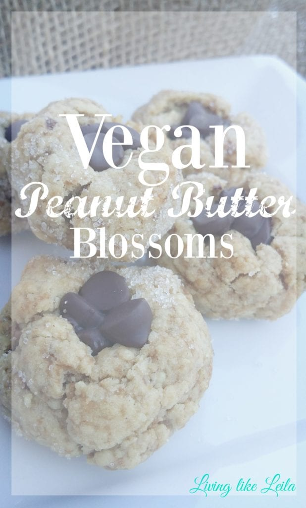 Vegan Peanut Butter Blossoms! One of my favorite cookies but in vegan form! Still tastes AMAZING, you can't eat just one! --www.LivinglikeLeila.com--