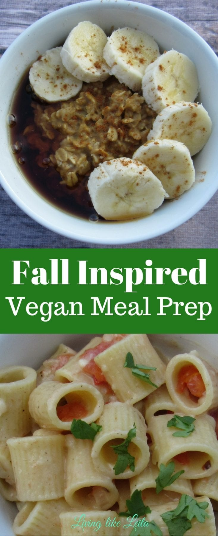 Warm pumpkin oatmeal, creamy pasta, pumpkin chocolate bread, doesn't that all sound delicious? Fill your week with delicious, vegan, Fall inspired meals! --www.LivinglikeLeila.com--