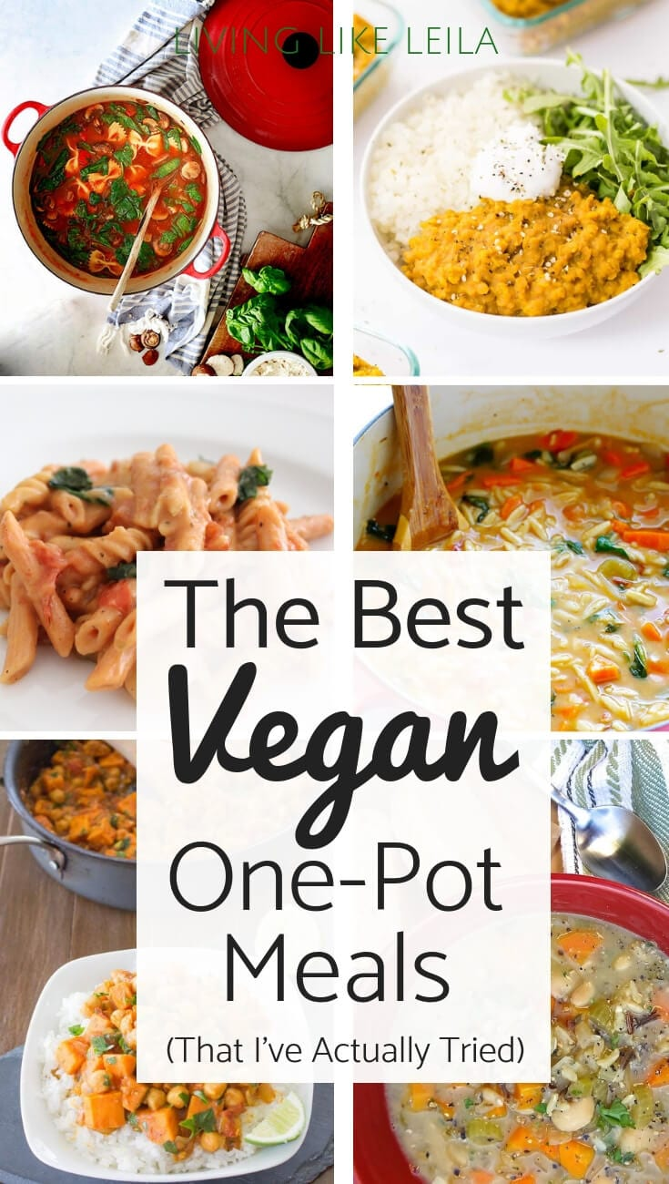 The best vegan one pot meals that I've actually tried! These dishes are simple, quick, and so delicious! Check them out at LivinglikeLeila.com.